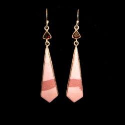 Pink Opal, Garnet Earrings