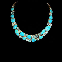 Turquoise, Blue Topaz Sterling Silver Necklace