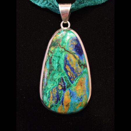 Azurite Malachite Sterling Silver artisan designed pendant