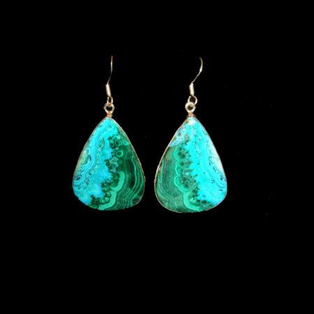 Azurite, Malachite Sterling Silver Dangle Earrings