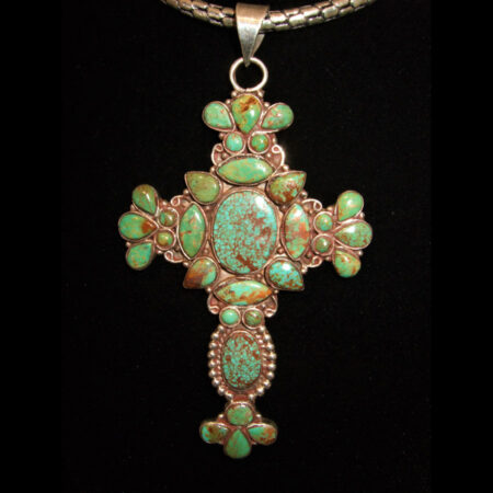 Sterling Silver Green Turquoise Ornate Cross Pendant