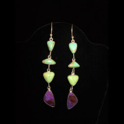 Turquoise, Sugilite Sterling Silver Dangle Earrings