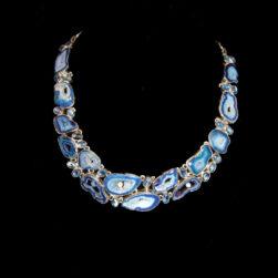 Blue Agate, Kyanite, White Topaz Sterling Silver Multi-Stone Necklace