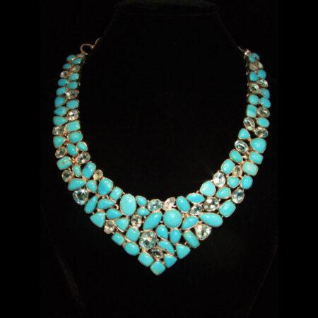 Sleeping Beauty Turquoise, Blue Topaz Multi Stone Necklace