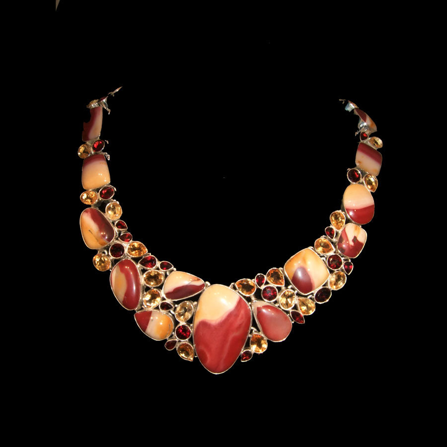 Handmade Mookaite Necklace Long Gemstone Necklace Mookaite Pendant Sterling Silver Mookaite Necklace Teardrop Jasper Necklace