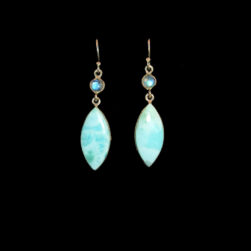 Larimar, Moonstone Sterling Silver Earrings