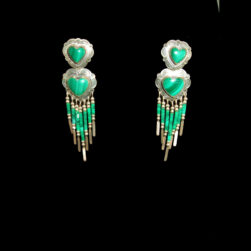 Malachite Sterling Silver heart shape Beaded Earrings