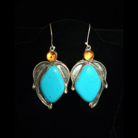 Turquoise, Amber Sterling Silver Drop Earrings