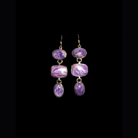 Charoite 3 stone Sterling Silver Earrings