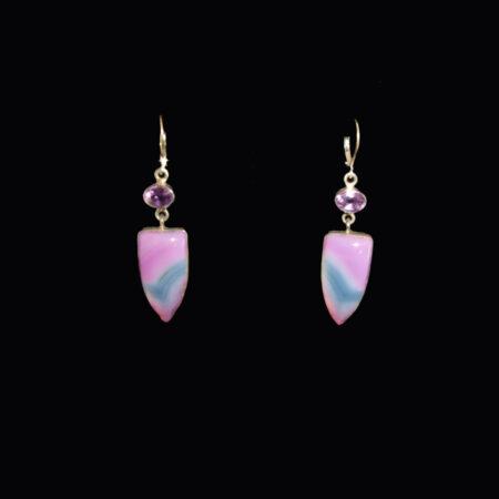 Amethyst, Purple Agate Sterling Silver Earrings