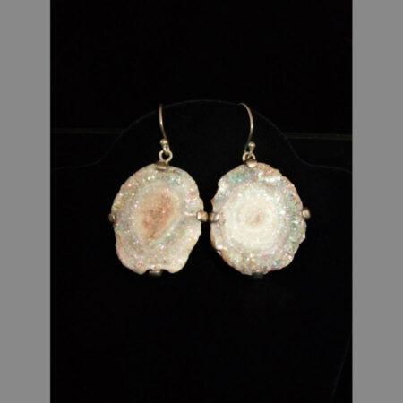 Chalcedony Druzy Rosette Sterling Silver Earrings