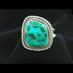Chrysocolla, Malachite Sterling Silver Cuff Bracelet