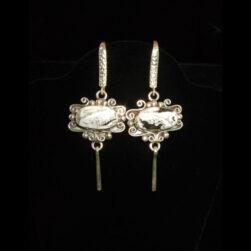 White Buffalo Stone Sterling Silver Drop Earrings