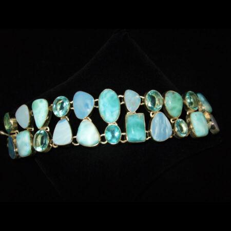 Larimar, Blue Topaz, Fire Opal Multi Gemstone Bracelet