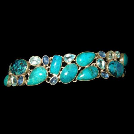 Shattuckite, Blue Topaz Sterling Silver Multi Gemstone Bracelet