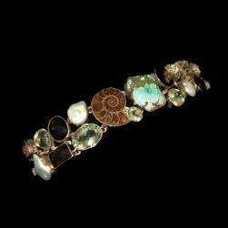 Boulder Turquoise, Ammonite, Pearl, Green Amethyst, Smoky Quartz, Pyrite Gemstone Bracelet