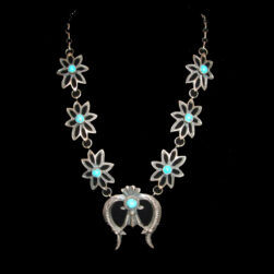 Native American Squash Blossom Necklace and Earring set with Naja, signed EL Billah